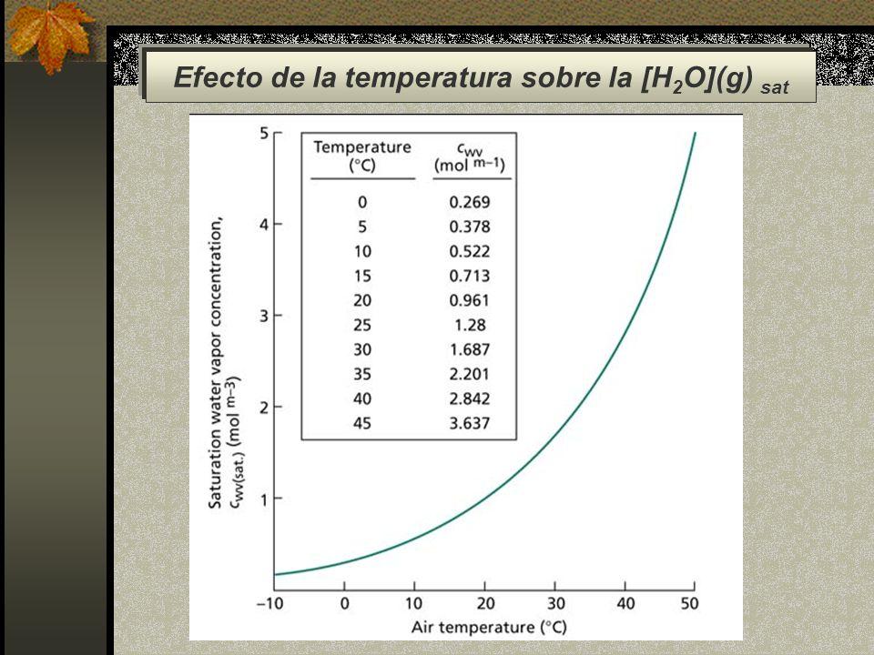 Efecto de la temperatura sobre la [H2O](g) sat